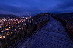 Night scene at old fortress. Nightscape of the medieval fortress Ovech near Provadia, Bulgaria royalty free stock images