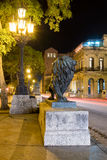 Night scene in Old Havana with a famous bronze lion considered a symbol of the city Royalty Free Stock Photography