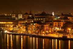 Night scene in Old Havana. With a view of the bay Royalty Free Stock Photo