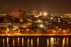Night scene in Old Havana. With a view of the bay and the Capitol building Royalty Free Stock Photos