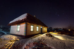 Night scene with old house Stock Photo