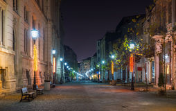 Night scene of Old town center of Bucharest Royalty Free Stock Photography