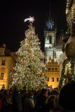 Night scene of Old Town Square with the Christmas tree in Prague Stock Image