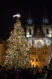 Night scene of Old Town Square with the Christmas tree in Prague Stock Photography