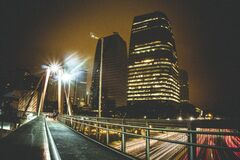 Night scene over bridge Royalty Free Stock Photography