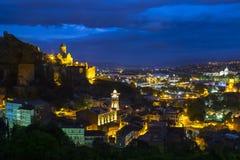Night scene over the city of Tbilisi in Georgia. Stock Photos