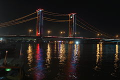 Night scene in Palembang, Sumatera, Indonesia stock photos