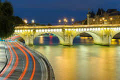 Night scene in paris ccity Stock Photography
