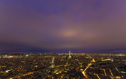 Night scene of Paris city with Eiffel Tower Stock Photo