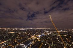 Night scene of Paris cityscape. From Eiffel Tower Stock Images