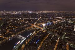 Night scene of Paris cityscape. From Eiffel Tower Royalty Free Stock Photo