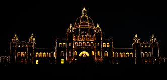 Night scene of parliament palace in Victoria, Vancouver Island, Canada. Night scene of parliament palace in capital town of Victoria in Vancouver Island, British royalty free stock image