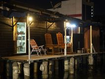 Night scene of patio of a home, Chew Jetty, Penang stock photography