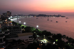 Night scene at Pattaya city Royalty Free Stock Photo