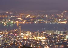 Night scene of Penang, Malaysia. Night scene of Georgetown city from Penang Hill Stock Photography
