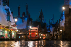 Night scene without people of Hogsmeade village. From Harry Potter movies in Universal Studios Japan Royalty Free Stock Photography