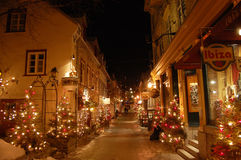 Night scene of Petit Champlain Street Stock Image