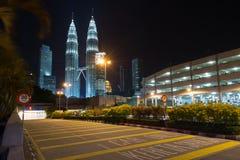 Night scene of Petronas Twin towers Royalty Free Stock Photos