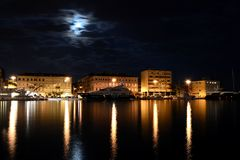 Night scene. A photo of the city Rijeka. It the biggest port in Croatia. It is night and lights are very nice Stock Image