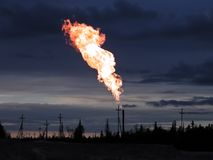 Picture of burning oil gas flare Royalty Free Stock Images