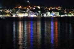 Night scene of Podgora. Croatia stock images