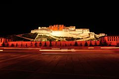 Night scene of potala palace, tibet Stock Images