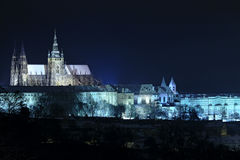 night scene of prague castle Stock Photo