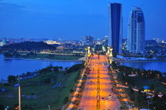 Night scene of Putrajaya. The picture shows night scene of Putra Jaya main road towards the Malaysia's Ministry Offices and Complex. Putrajaya is the Stock Photography