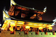 The night scene of Qianzhou ancient town Stock Photos