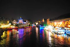 Night scene of Qinhuai river and boats Stock Photos