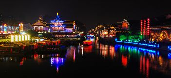 Night scene of Qinhuai river. The Qinhuai river, a branch of the mighty Yangtze River has nursed the rich civilization of the region. The inner river of the Royalty Free Stock Photography