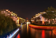 Night scene of Qinhuai river in Nanjing city Stock Image