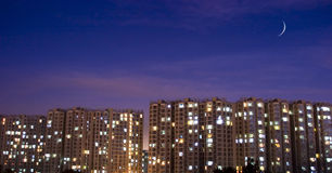 Night scene of real estate. In beijing china Stock Image