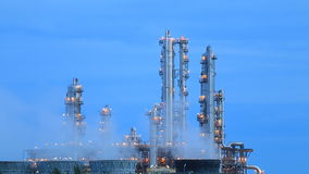 Night scene of refining plant stock footage