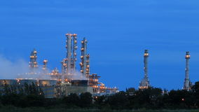Night scene of refining plant stock video footage