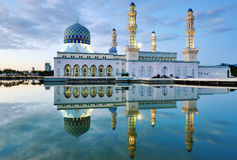 Night scene Reflection of Kota Kinabalu. Mosque at Sabah, Borneo, Malaysia. Famous landmark in Kota Kinabalu Stock Image