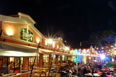 Night scene at restaurant with outdoor seats Stock Image