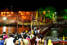 Night scene of river kshipra during simhasth great kumbh mela 2016, Ujjain India Royalty Free Stock Images