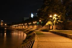 Night Scene - river Vardar Stock Images