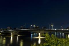 Night Scene of Road Bridge. Beautiful Night View of riverside  Hotel in Chiangmai, Thailand Royalty Free Stock Photography