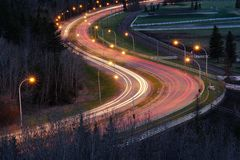 Night scene of road and cars Royalty Free Stock Images