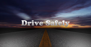 Night Scene Road, Drive Safely Concept Stock Photo