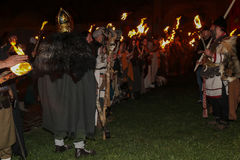 Night scene with Roman soldiers in battle costume Stock Images