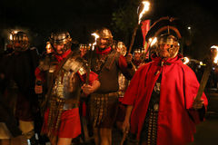 Night scene with Roman soldiers in battle costume Stock Photo
