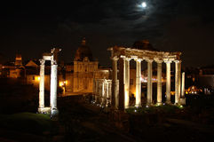 Night scene in Rome. Romes forum at night with mood behind the clouds Royalty Free Stock Photo