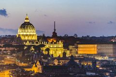 Night Scene Rome Cityscape Aerial View. Rome night cityscape aerial view with st peters dome as main subject, taken from vitorio emanuelle monument viewpoint Stock Images