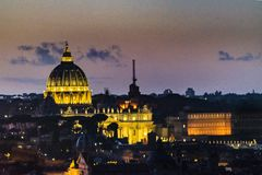 Night Scene Rome Cityscape Aerial View. Rome night cityscape aerial view with st peters dome as main subject, taken from vitorio emanuelle monument viewpoint Stock Image