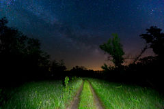 Night scene with rut road and sky Stock Image