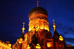 Night scene of Saint Sophia Cathedral in Harbin,China. Saint Sophia Cathedral is the biggest church in China. Which attracts a lot of tourism. This is the night Royalty Free Stock Image
