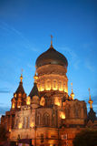 Night scene of Saint Sophia Cathedral inChina Stock Photography